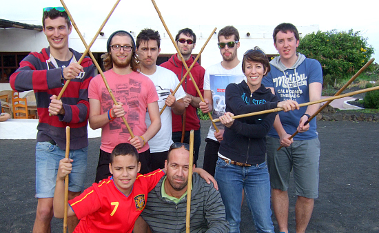 Chichester students attempt Lanzarotian stick fighting