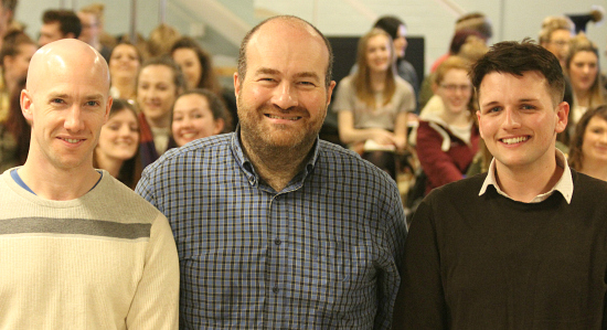 From left to right - course leader Andrew Wright, theatre critic Mark Shenton, and associate lecturer Carl Woodward