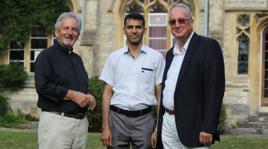 Rev John Dane with Dr Waleed Al-Bazoon and Vice-Chancellor Prof Clive Behagg