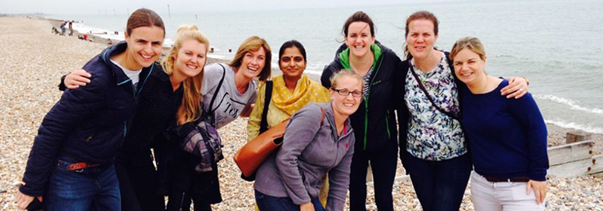 Image of eight WSLA 2016 participants standing as a group on Bognor Regis beach