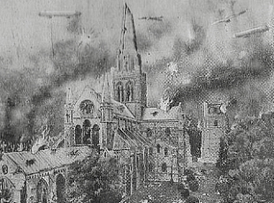 Chichester Cathedral, as it would be under German bombardment