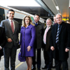 Vice-Chancellor Professor Clive Behagg with Penny Mordaunt MP at Gatwick Airport