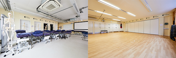 Sports therapy clinic with beds and rehab room