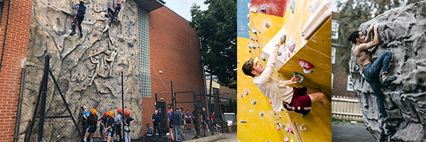 Images showing external and internal climbing wall and external boulder