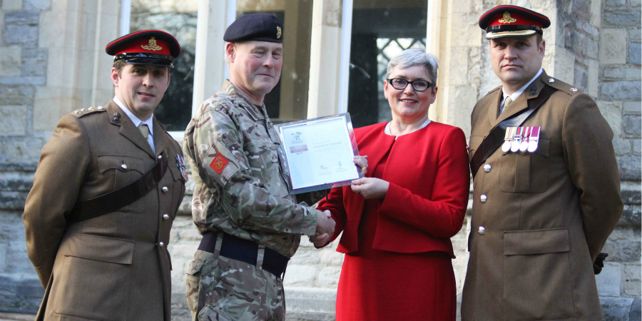 Top (from left to right): Colonel David Steele, University of Chichester Deputy Vice-Chancellor Professor Catherine Harper, Major Tim Osman of the 12 Regiment Royal Artillery