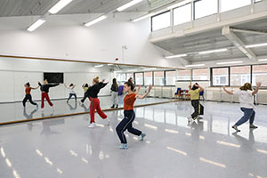 Dance studios and facilities at the Chichester campus