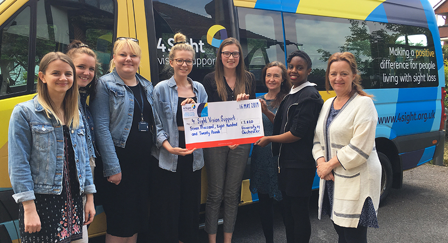 Nearly £8,000 has been raised by the Charity Development students for 4Sight Vision