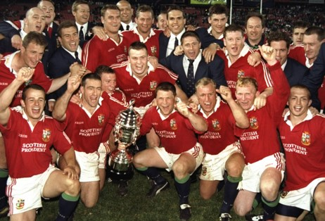 Action shot of the victorious Lions from the 1997 tour