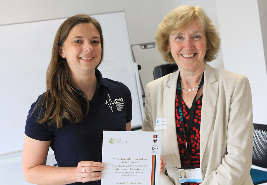Dr Sarah Needham-Beck with University Vice-Chancellor Prof Jane Longmore