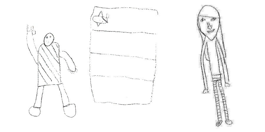 The children were invited to draw three pictures of themselves – one as a baseline, one happy and one sad