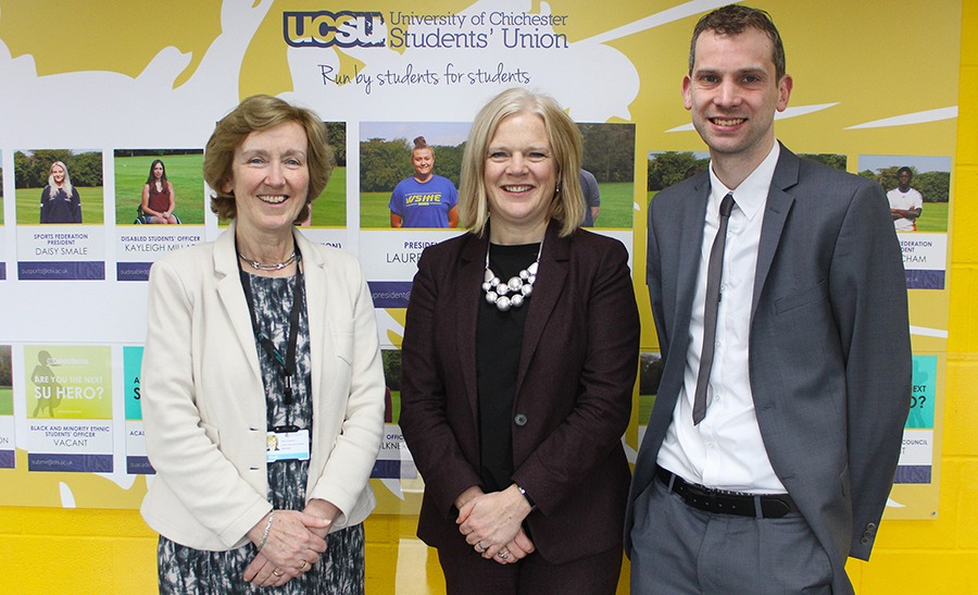 Photo caption (left to right): Vice-Chancellor Professor Jane Longmore, UCAS CEO Clare Marchant, and UCAS Relationship Manager (South East and East) Andy Frampton.