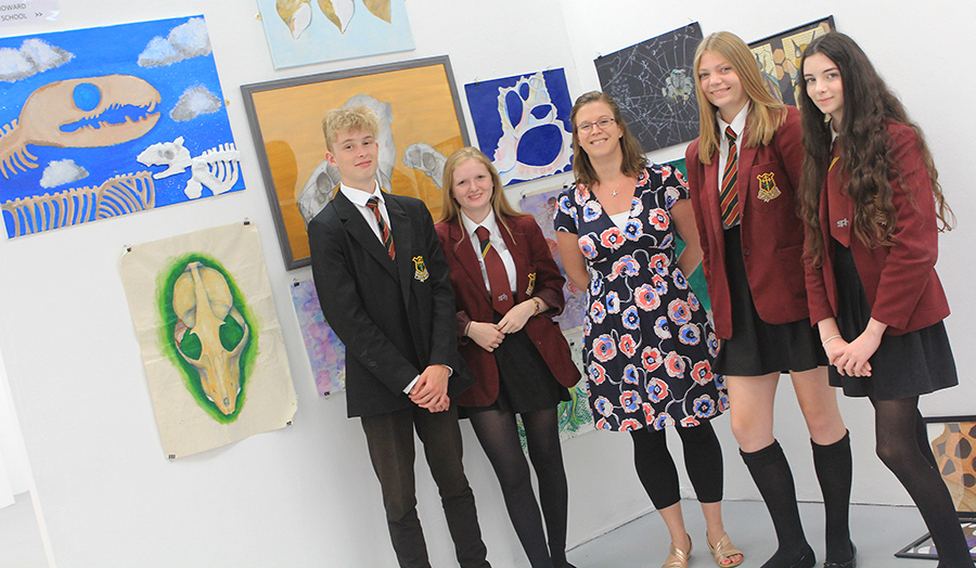 Year ten students Felicity, Hannah, and Oscar, from Philip Howard school, with teacher Mrs Katie Hudson