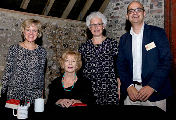 Photo from left to right: Di Speirs, BBC Radio's Editor of Books, Edna O'Brien, Dr Sarah Gilroy, Deputy Vice-Chancellor, Alistair Burtenshaw, Charleston Director.